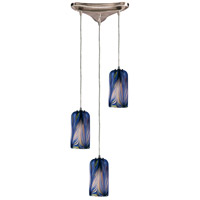 Molten 3 Light 10 inch Satin Nickel Pendant Ceiling Light in Molten Ocean Glass