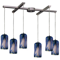 Molten 6 Light 33 inch Satin Nickel Pendant Ceiling Light in Molten Ocean Glass