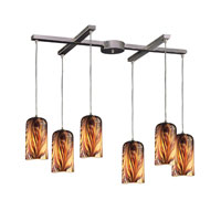 Molten 6 Light 33 inch Satin Nickel Pendant Ceiling Light in Molten Sunset Glass