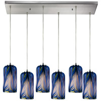 ELK 544-6RC-MO Molten 6 Light 30 inch Satin Nickel Pendant Ceiling Light in Molten Ocean Glass photo thumbnail