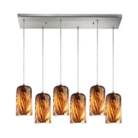 Molten 6 Light 30 inch Satin Nickel Pendant Ceiling Light in Molten Sunset Glass