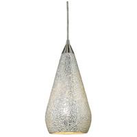 ELK 546-1SLV-CRC Curvalo 1 Light 6 inch Satin Nickel Pendant Ceiling Light in Incandescent Silver Crackle Glass Standard