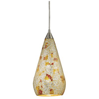 Curvalo 1 Light 6 inch Satin Nickel Pendant Ceiling Light in Incandescent, Silver Multi-Colored Crackle, Standard