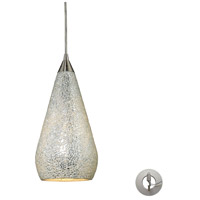 Curvalo 1 Light 6 inch Satin Nickel Pendant Ceiling Light in Incandescent, Silver Crackle Glass, Recessed Adapter Kit