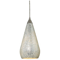 Curvalo LED 6 inch Satin Nickel Pendant Ceiling Light in Silver Crackle Glass, Standard