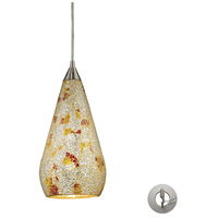 ELK 546-1SLVM-CRC-LA Curvalo 1 Light 6 inch Satin Nickel Pendant Ceiling Light in Incandescent, Silver Multi-Colored Crackle, Recessed Adapter Kit