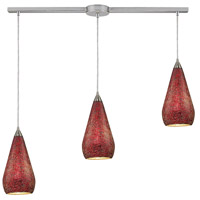 Curvalo 3 Light 36 inch Satin Nickel Pendant Ceiling Light in Ruby Crackle Glass