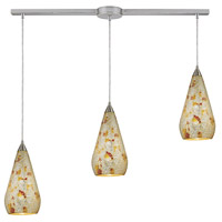Curvalo 3 Light 36 inch Satin Nickel Pendant Ceiling Light in Silver Multi-Colored Crackle