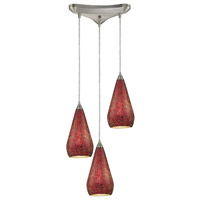 ELK 546-3RBY-CRC Curvalo 3 Light 10 inch Satin Nickel Pendant Ceiling Light in Ruby Crackle Glass, Incandescent, Triangular Canopy