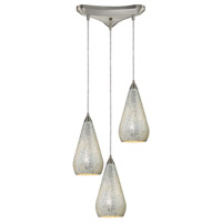 ELK 546-3SLV-CRC Curvalo 3 Light 10 inch Satin Nickel Pendant Ceiling Light in Silver Crackle Glass, Incandescent, Triangular Canopy
