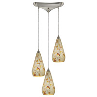 ELK 546-3SLVM-CRC Curvalo 3 Light 10 inch Satin Nickel Pendant Ceiling Light in Silver Multi-Colored Crackle, Incandescent, Triangular Canopy