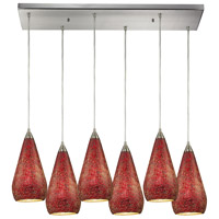ELK Lighting Curvalo 6 Light Pendant in Satin Nickel 546-6RC-RBY-CRC