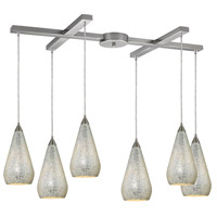 ELK 546-6SLV-CRC Curvalo 6 Light 17 inch Satin Nickel Pendant Ceiling Light in Silver Crackle Glass, Incandescent, Light Bar