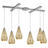 ELK 546-6SLVM-CRC Curvalo 6 Light 17 inch Satin Nickel Pendant Ceiling Light in Silver Multi-Colored Crackle, Incandescent, Light Bar