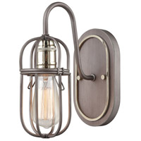 ELK 55061/1 Industrial Cage 1 Light 7 inch Weathered Zinc with Polished Nickel Vanity Light Wall Light