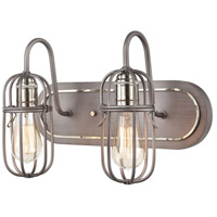 ELK 55062/2 Industrial Cage 2 Light 16 inch Weathered Zinc with Polished Nickel Vanity Light Wall Light