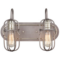 ELK 55062/2 Industrial Cage 2 Light 16 inch Weathered Zinc with Polished Nickel Vanity Light Wall Light alternative photo thumbnail