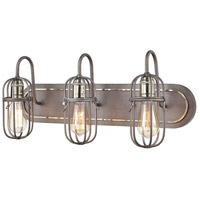 ELK 55063/3 Industrial Cage 3 Light 24 inch Weathered Zinc with Polished Nickel Vanity Light Wall Light