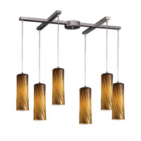 ELK 551-6MA Maple 6 Light 33 inch Satin Nickel Pendant Ceiling Light in Maple Amber Glass photo thumbnail