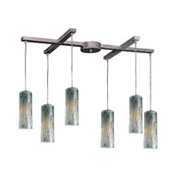 Maple 6 Light 33 inch Satin Nickel Pendant Ceiling Light in Maple Dusk Glass