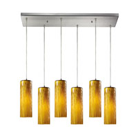 Maple 6 Light 30 inch Satin Nickel Pendant Ceiling Light in Maple Amber Glass