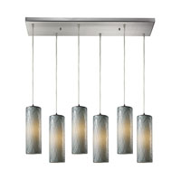 Maple 6 Light 30 inch Satin Nickel Pendant Ceiling Light in Maple Dusk Glass