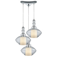 ELK 56500/3 Alora 3 Light 10 inch Polished Chrome Mini Pendant Ceiling Light in Triangular Canopy, Triangular