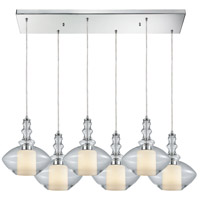ELK 56500/6RC Alora 6 Light 30 inch Polished Chrome Mini Pendant Ceiling Light in Rectangular Canopy, Rectangular