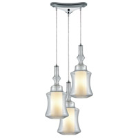 ELK 56501/3 Alora 3 Light 10 inch Polished Chrome Mini Pendant Ceiling Light in Triangular Canopy, Triangular