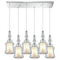 ELK 56501/6RC Alora 6 Light 30 inch Polished Chrome Mini Pendant Ceiling Light in Rectangular Canopy, Rectangular