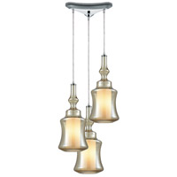 ELK 56502/3 Alora 3 Light 10 inch Polished Chrome Mini Pendant Ceiling Light in Triangular Canopy, Triangular
