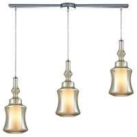 ELK 56502/3L Alora 3 Light 36 inch Polished Chrome Mini Pendant Ceiling Light in Linear with Recessed Adapter, Linear