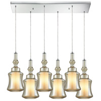 ELK 56502/6RC Alora 6 Light 30 inch Polished Chrome Mini Pendant Ceiling Light in Rectangular Canopy, Rectangular