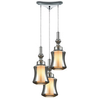ELK 56503/3 Alora 3 Light 10 inch Polished Chrome Mini Pendant Ceiling Light in Triangular Canopy, Triangular