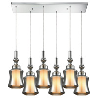 ELK 56503/6RC Alora 6 Light 30 inch Polished Chrome Mini Pendant Ceiling Light in Rectangular Canopy, Rectangular