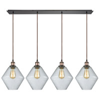 ELK 56510/4LP Raindrop Glass 4 Light 46 inch Antique Brass with Oil Rubbed Bronze Linear Pendant Ceiling Light, Linear Pan
