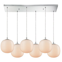 ELK 56560/6RC Beehive 6 Light 30 inch Polished Chrome Mini Pendant Ceiling Light in Rectangular Canopy, Rectangular