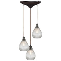 Jackson 3 Light 12 inch Oil Rubbed Bronze Pendant Ceiling Light in Triangular Canopy