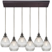 Jackson 6 Light 32 inch Oil Rubbed Bronze Pendant Ceiling Light in Rectangular Canopy
