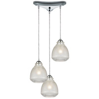 ELK 56590/3 Victoriana 3 Light 12 inch Polished Chrome Mini Pendant Ceiling Light in Triangular Canopy Triangular