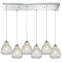 ELK 56590/6RC Victoriana 6 Light 32 inch Polished Chrome Mini Pendant Ceiling Light in Rectangular Canopy Rectangular