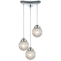 ELK 56591/3 Victoriana 3 Light 12 inch Polished Chrome Mini Pendant Ceiling Light in Triangular Canopy Triangular