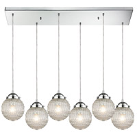 ELK 56591/6RC Victoriana 6 Light 32 inch Polished Chrome Mini Pendant Ceiling Light in Rectangular Canopy Rectangular