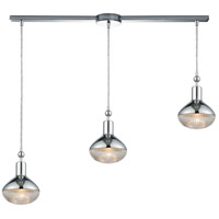 Ravette 3 Light 38 inch Polished Chrome Linear Pendant Ceiling Light in Linear with Recessed Adapter