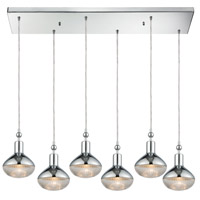 Ravette 6 Light 32 inch Polished Chrome Pendant Ceiling Light in Rectangular Canopy