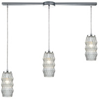 ELK 56650/3L Zigzag 3 Light 38 inch Polished Chrome Mini Pendant Ceiling Light in Linear with Recessed Adapter, Linear
