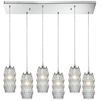 ELK 56650/6RC Zigzag 6 Light 32 inch Polished Chrome Mini Pendant Ceiling Light in Rectangular Canopy Rectangular