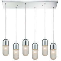 ELK 56661/6RC Capsula 6 Light 32 inch Polished Chrome Mini Pendant Ceiling Light in Rectangular Canopy Rectangular