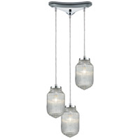 Dubois 3 Light 12 inch Polished Chrome Pendant Ceiling Light in Triangular Canopy