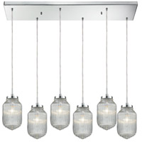 Dubois 6 Light 32 inch Polished Chrome Pendant Ceiling Light in Rectangular Canopy